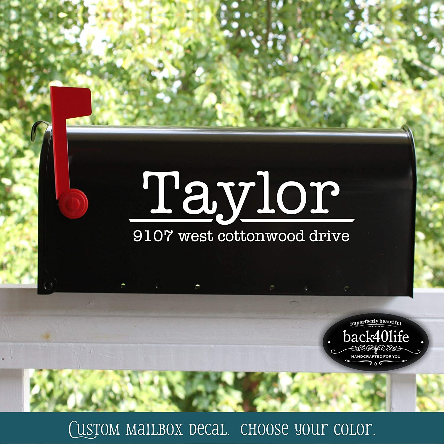 Typewriter Style Mailbox Numbers Street Address Only Vinyl Decal (E-004m)