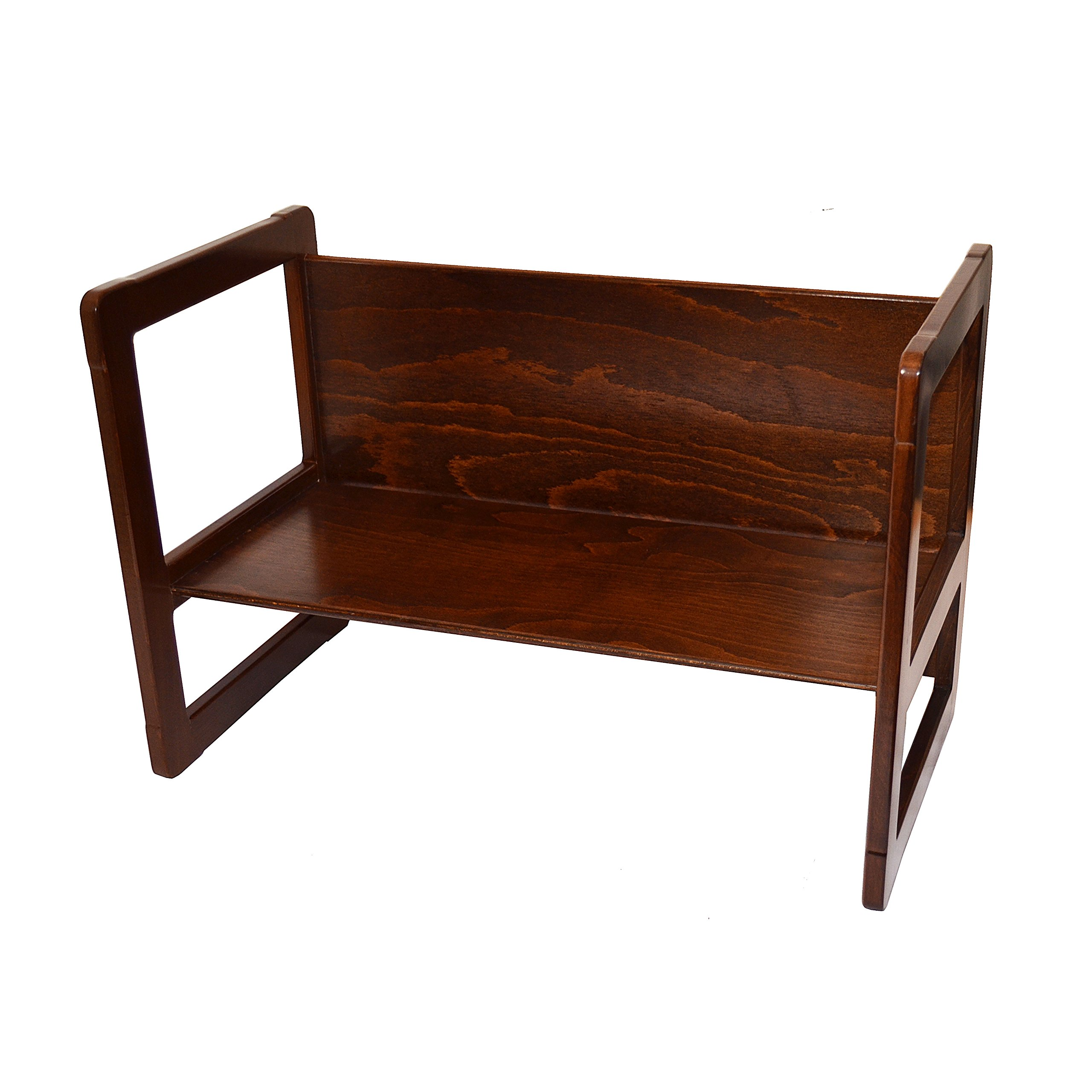 3 in 1 Childrens Furniture One Large Multifunctional Bench or Table Beech Wood, Dark Stained