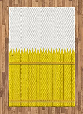 Amazon Com Ambesonne Yellow Area Rug Colorful Wooden Picket Fence