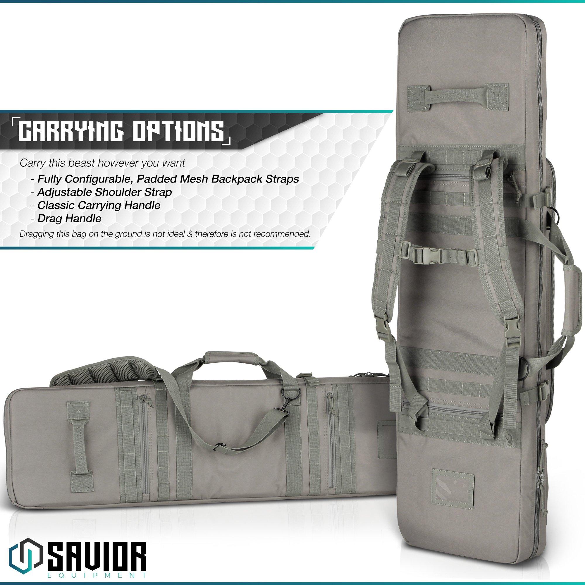 Savior Equipment Urban Warfare Tactical Double Carbine Long Rifle Bag Gun Case Firearm Backpack w/Pistol Handgun Case - 42 Inch Ash Gray by Savior Equipment (Image #6)