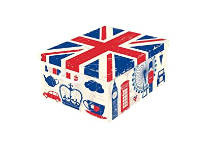 LAVATELLI Caja en Carton, Blanco/Azul/Rojo, 39 x 50 x 24
