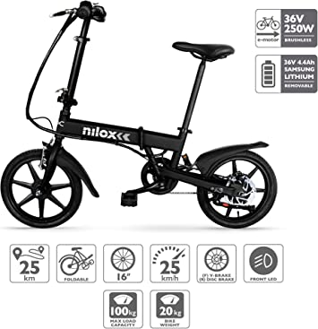 Nilox E Bike 36 V 16 P-X2 Bicicleta Eléctrica, Unisex Adulto ...