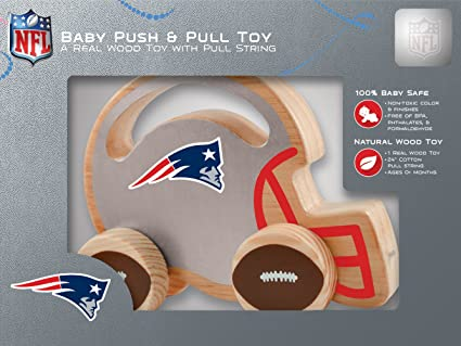 Non-Toxic MasterPieces NFL New England Patriots Natural Wood Push /& Pull Toy with Cotton String Phthalates /& Formaldehyde Free BPA