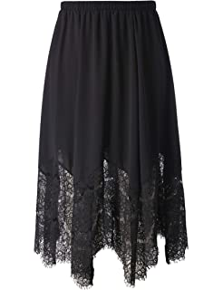 6da48b85a6f26 Chicwe Women s Plus Size Long Flare Lace Trimmed Skirt with Elastic  Waistband - Casual and Work