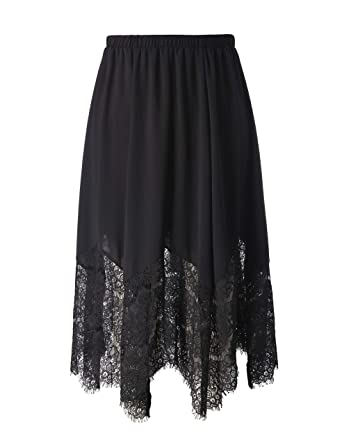 5ef8251d513 Chicwe Women s Plus Size Long Flare Lace Trimmed Skirt with Elastic  Waistband - Casual and Work