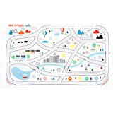 Disposable Placemats for Baby Toddlers Kids, Table Topper Disposable Placemats - Biodegradable BPA-Free Premium Super Sticky Stick-on Place Mats - Roadmap by Mini Explorers (20 Count)