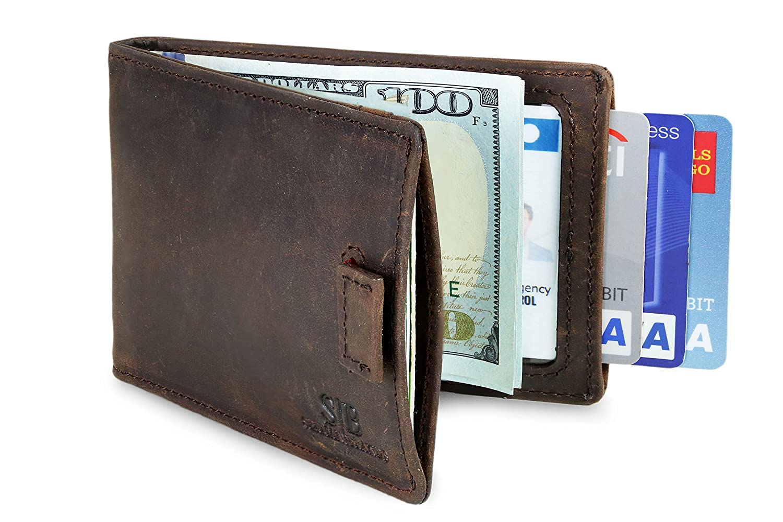 RFID Blocking Bifold Slim Genuine Leather Minimalist Front Pocket Wallets for Men Money Clip