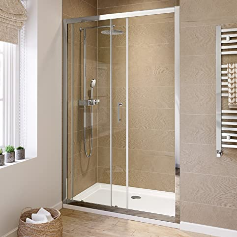 1000 mm Sliding Glass Cubicle Door Modern Bathroom Alcove Shower Enclosure by iBathUK & Amazon.com: 1000 mm Sliding Glass Cubicle Door Modern Bathroom ...