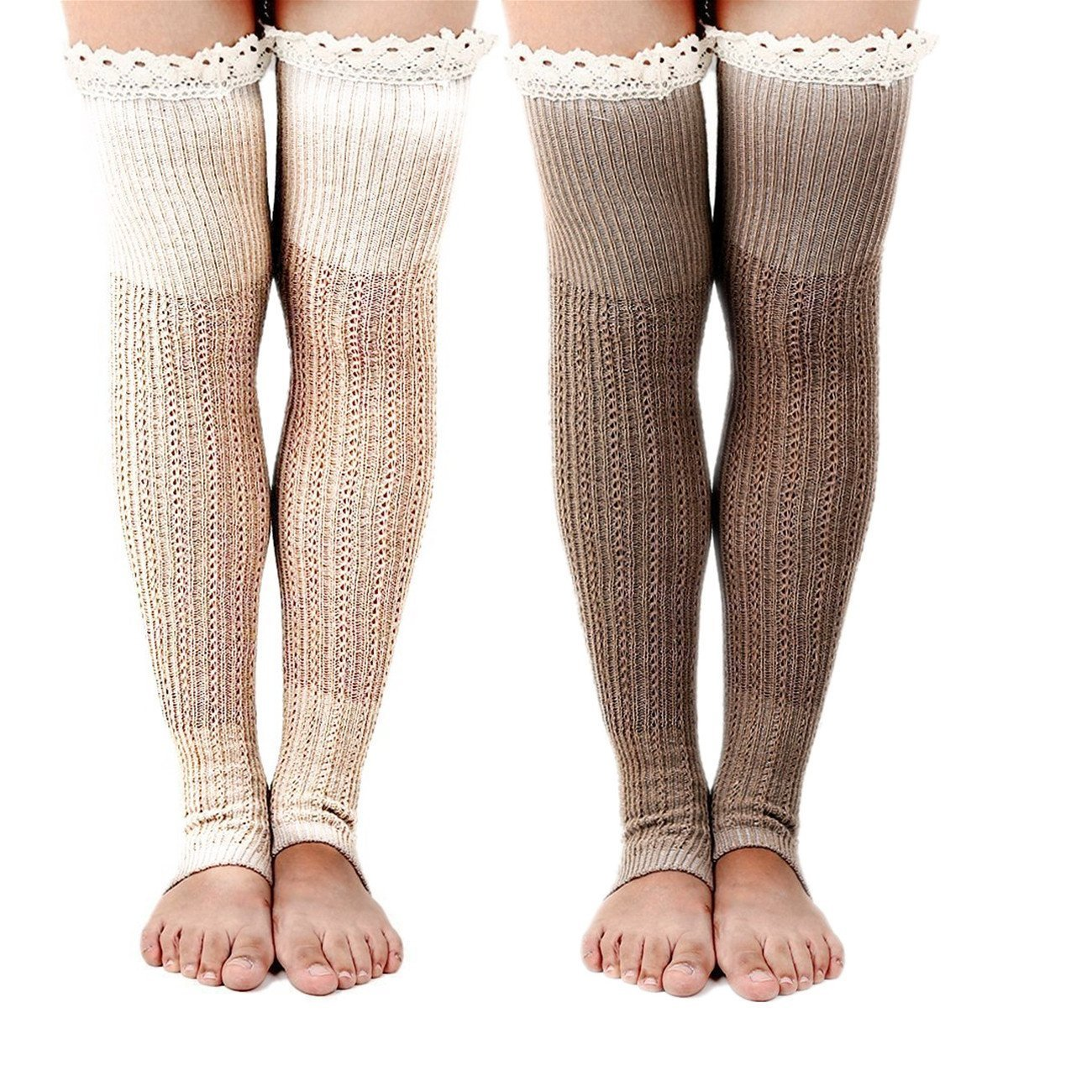 Spring Fever Boot Socks with Lace Trim Cute Leg Warmers(Beige&Khaki)