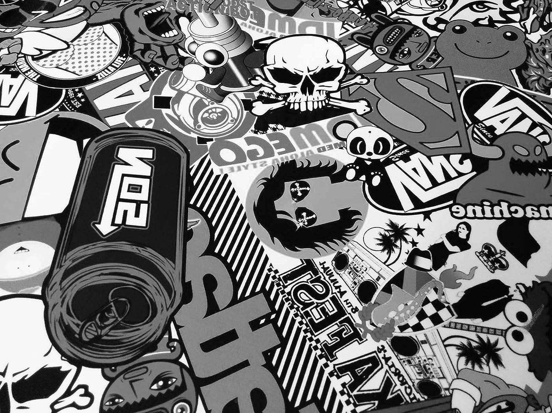 Stickerbomb Folie Alle Designs Alle Größen Ob Glänzend Oder Matt Bunt Oder Schwarz Weiß Für Blasenfreies 3d Car Wrapping Mit Echten Marken Sticker Bomb Logo Aufklebern Jdm 30x150cm Sd Schwarz Weiß