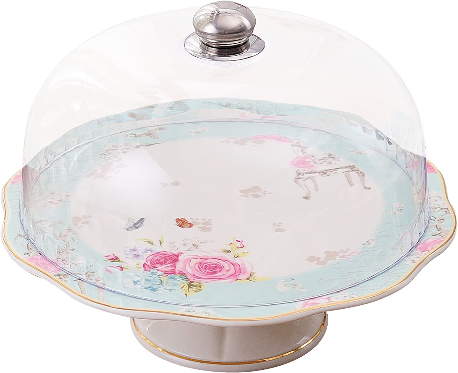 CS01 - Plastic Dome Jusalpha White Ceramic Decorative Cake Stand-Cupcake Stand with Dome
