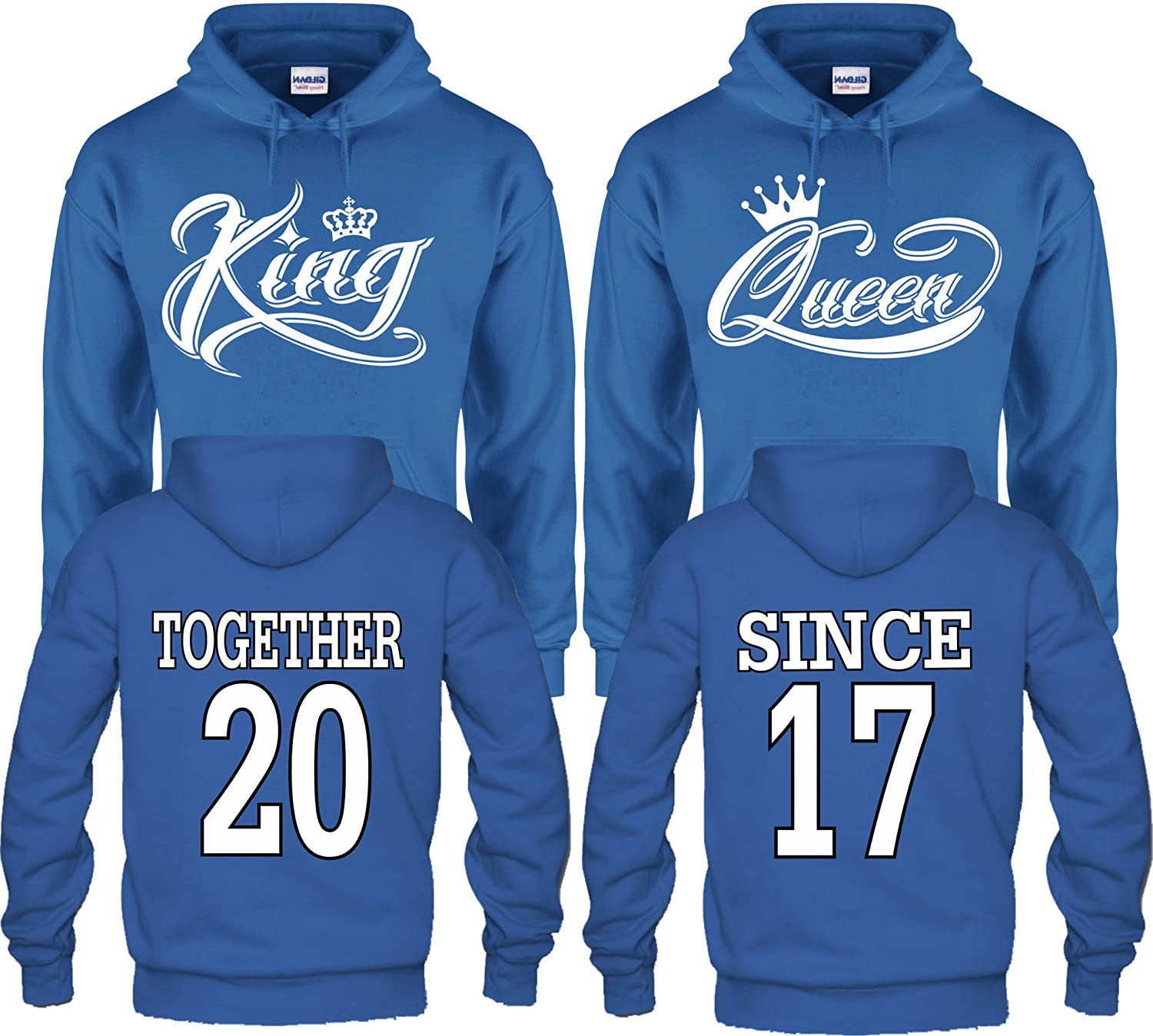 Arts /& Designs King /& Queen Together Since Couple Matching Hoodies Pull Over