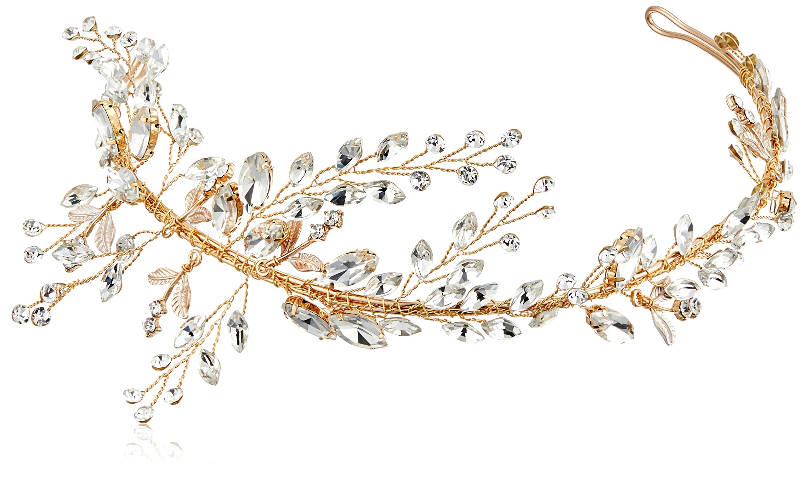 Nina Women's Drees Crystal Vines Bridal Hairpiece, Gold, One Size
