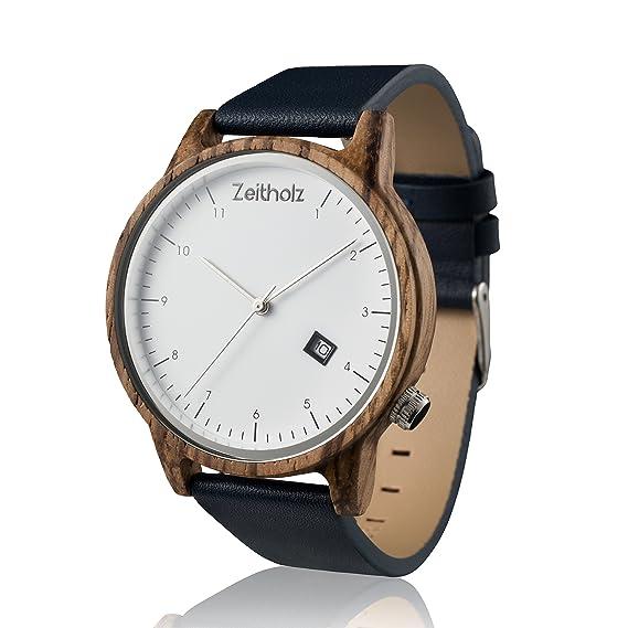 Zebrawood - Reloj de pulsera para hombre y mujer, con caja de regalo y 2