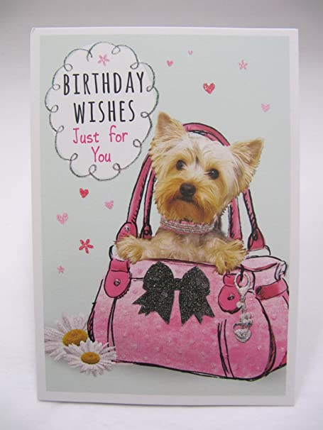 Glitter Coated Puppy Dog Birthday Wishes Just For You Birthday