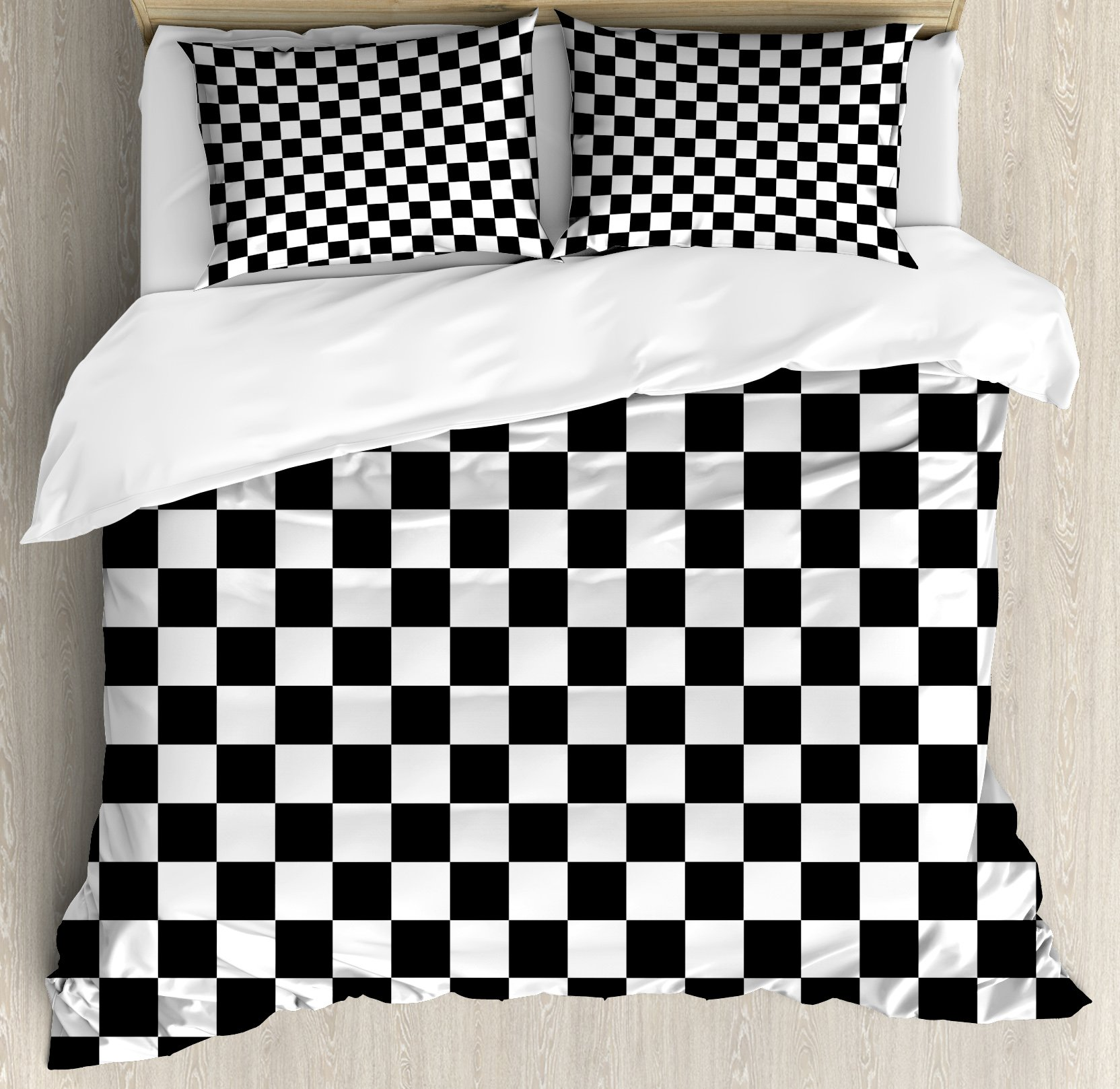 Checkers Game Duvet Cover Set Queen Size by Ambesonne, Geometric Grid Style Monochrome Squares in Traditional Game Board Design, Decorative 3 Piece Bedding Set with 2 Pillow Shams, Black White