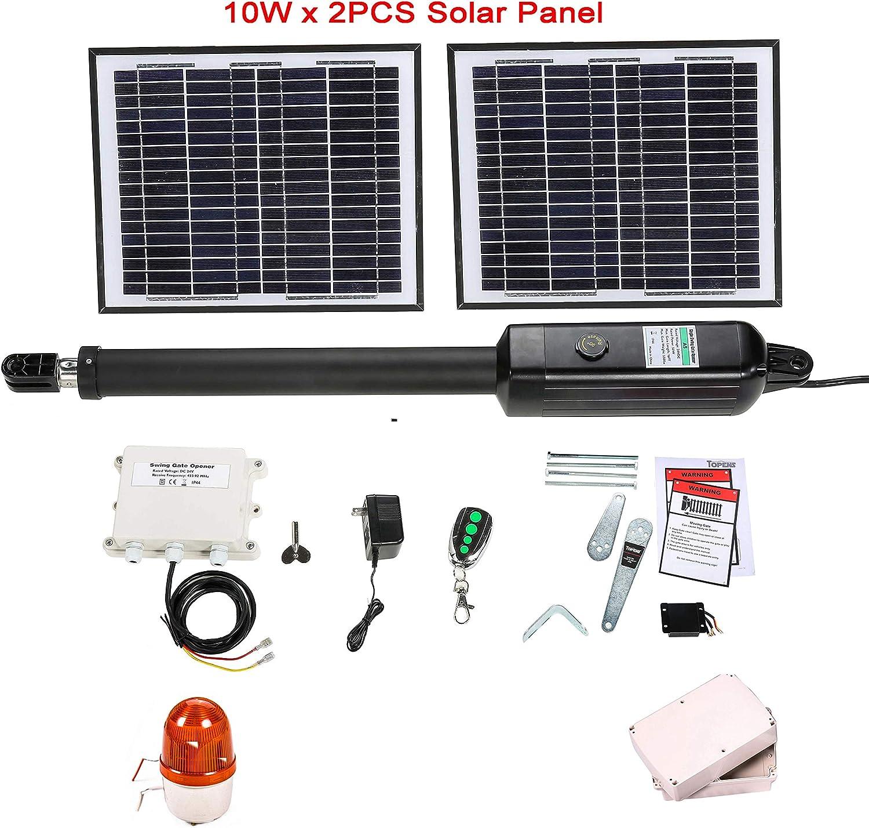 TOPENS A5S - Abridor de puerta de columpio eléctrico automático solar para una puerta de columpio de hasta 250 kg o 5 m, incluye controlador solar y parpadeante: Amazon.es: Bricolaje y herramientas