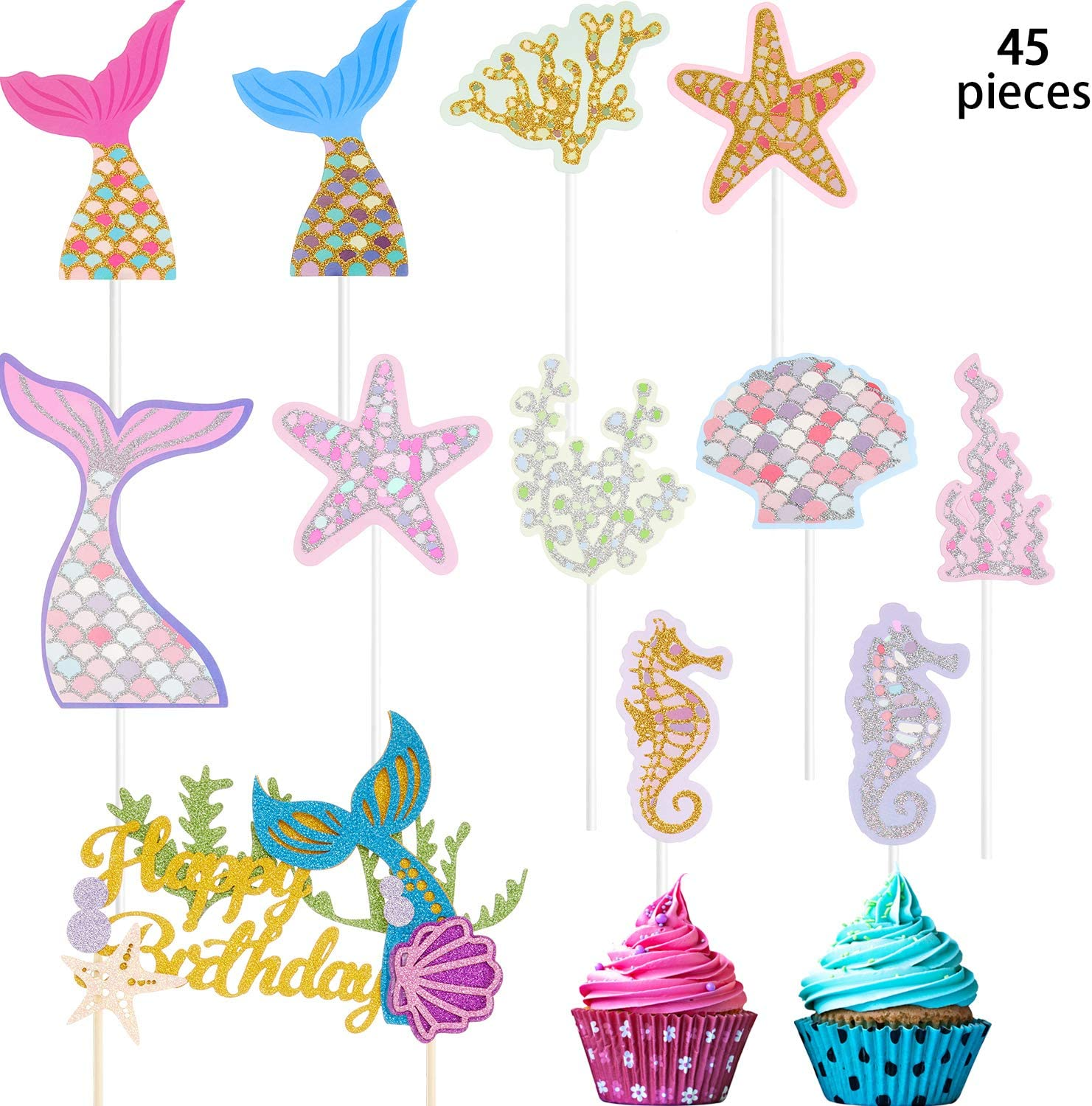 Mermaid Theme Cake Toppers Set, Include Mermaid Tail Glitter Cake Topper and 44 Pieces Ocean Glitter Cake Toppers for Baby Shower Party