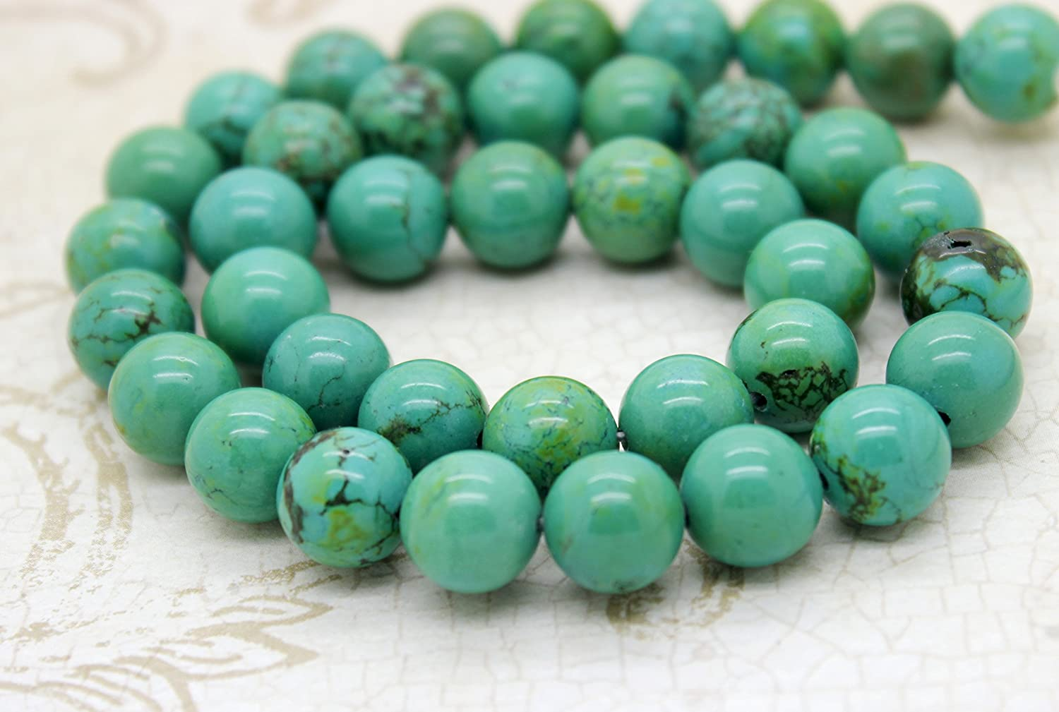 """10MM BLUE TURQUOISE GEMSTONE BLUE GREEN ROUND 10MM LOOSE BEADS 16/"""""""