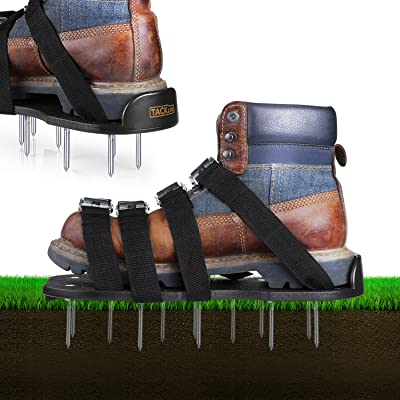 TACKLIFE Lawn Aerator Shoes, Aerating Lawn Soil Sandals with 4 Aluminium Alloy Buckles, 4 Adjustable Straps, 2 Extra Spikes and Wrench - Heavy Duty Spiked Sandals for Aerating Your Lawn or Yard : Garden & Outdoor