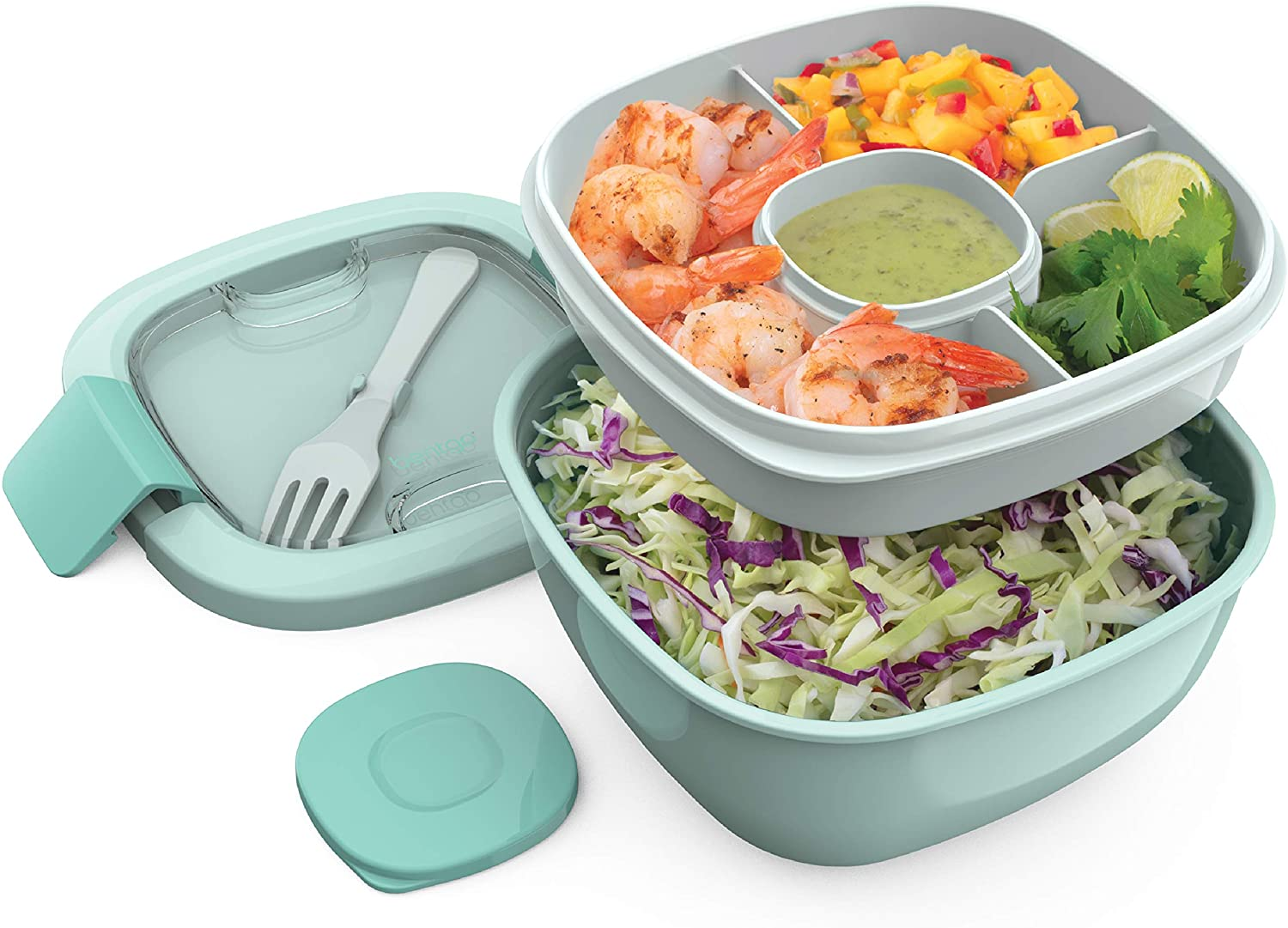 Bentgo Salad BPA-Free Lunch Container with Large 54-oz Bowl, 4-Compartment Bento-Style Tray for Salad Toppings and Snacks, 3-oz Sauce Container for Dressings, and Built-In Reusable Fork (Coastal Aqua)