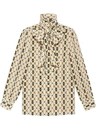 95cf92118d77 Gucci Femme 467085ZJX149460 Beige Soie Chemise  Amazon.fr  Vêtements ...