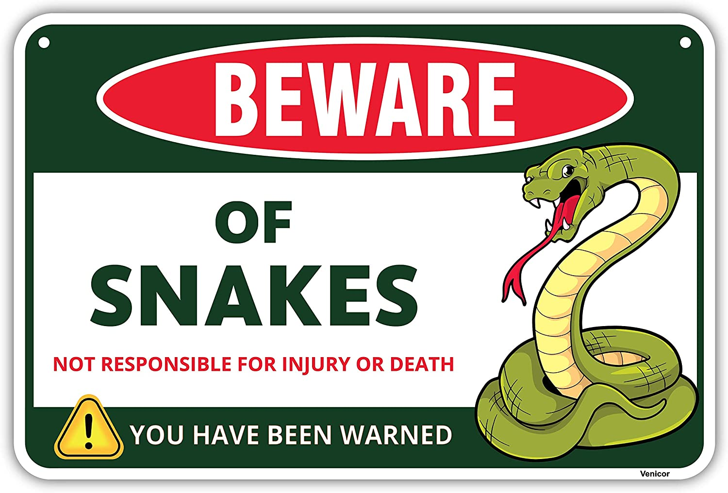 Venicor Snake Sign - 8x12 Inches - Aluminum - Snake Tank Accessories for Ball Python - Snake Cave Cage Habitat Decor - Snake Hide Aquarium Enclosure Carrier Statue Branch Poster Tapestry Decoration