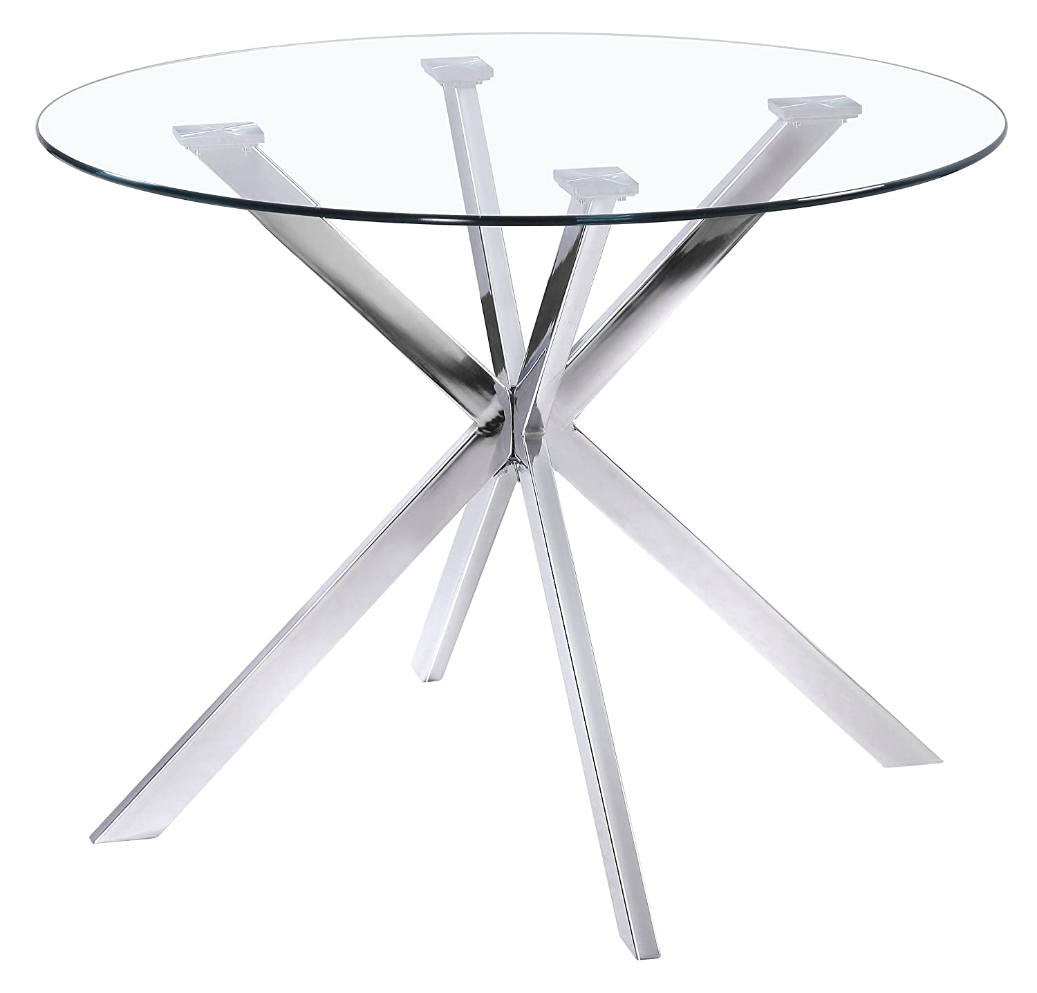 "Uptown Club Franz Collection State-of-the-art Designed Round Glass Top Dining Table, 41.3"" L x 41.3"" W x 29.5"" H"