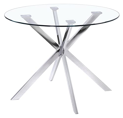 Uptown Club Franz Collection State-of-the-art Designed Round Glass Top Dining Table, 41.3 L x 41.3 W x 29.5 H