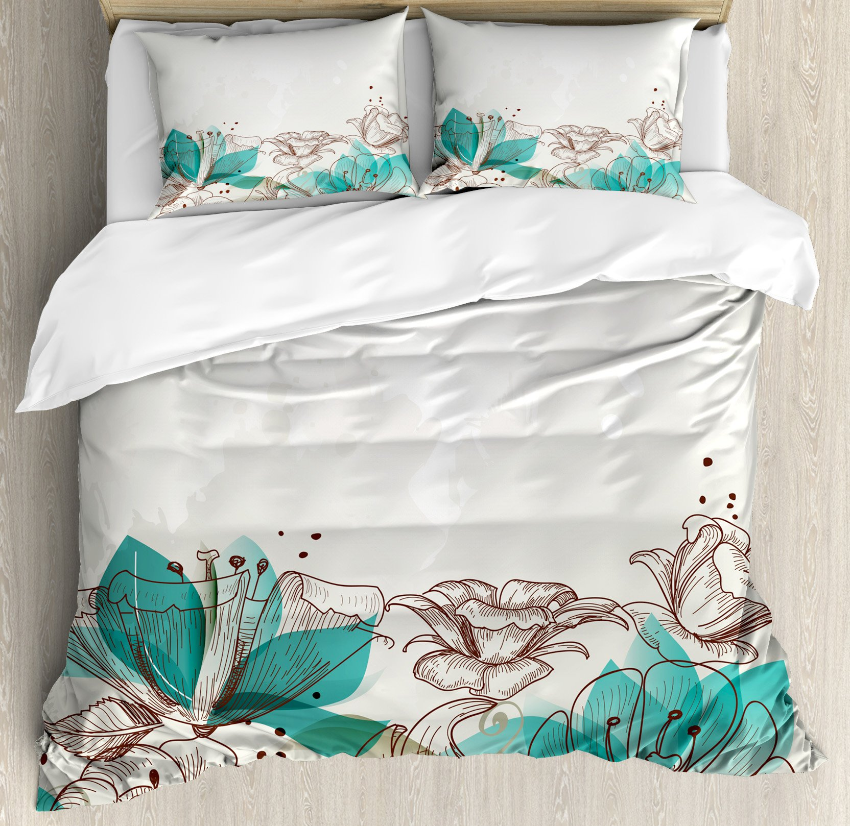 Ambesonne Turquoise Decor Duvet Cover Set, Retro Floral Background with Hibiscus Silhouettes Dramatic Romantic Nature Art, 3 Piece Bedding Set with Pillow Shams, Queen/Full, Beige Teal