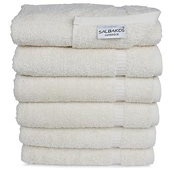 SALBAKOS Set de toallas de mano ecológicas de algodón turco para hotel y spa de lujo Pack de 6 Toalla de mano Marfil: Amazon.es: Hogar