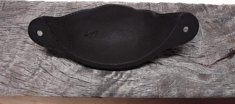 Closet Cottage or Workshop Handl Bathroom Drawers Set of 4 Vintage Looking Black Brown Rustic Looking Cast Iron Metal Cup Pull Drawer Pull Handles Wood Gate Door Furniture Cabinet Serving Trays