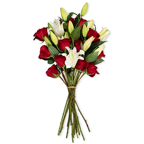 Benchmark Bouquets Red Roses And White Oriental Lilies No Vase Fresh Cut Flowers