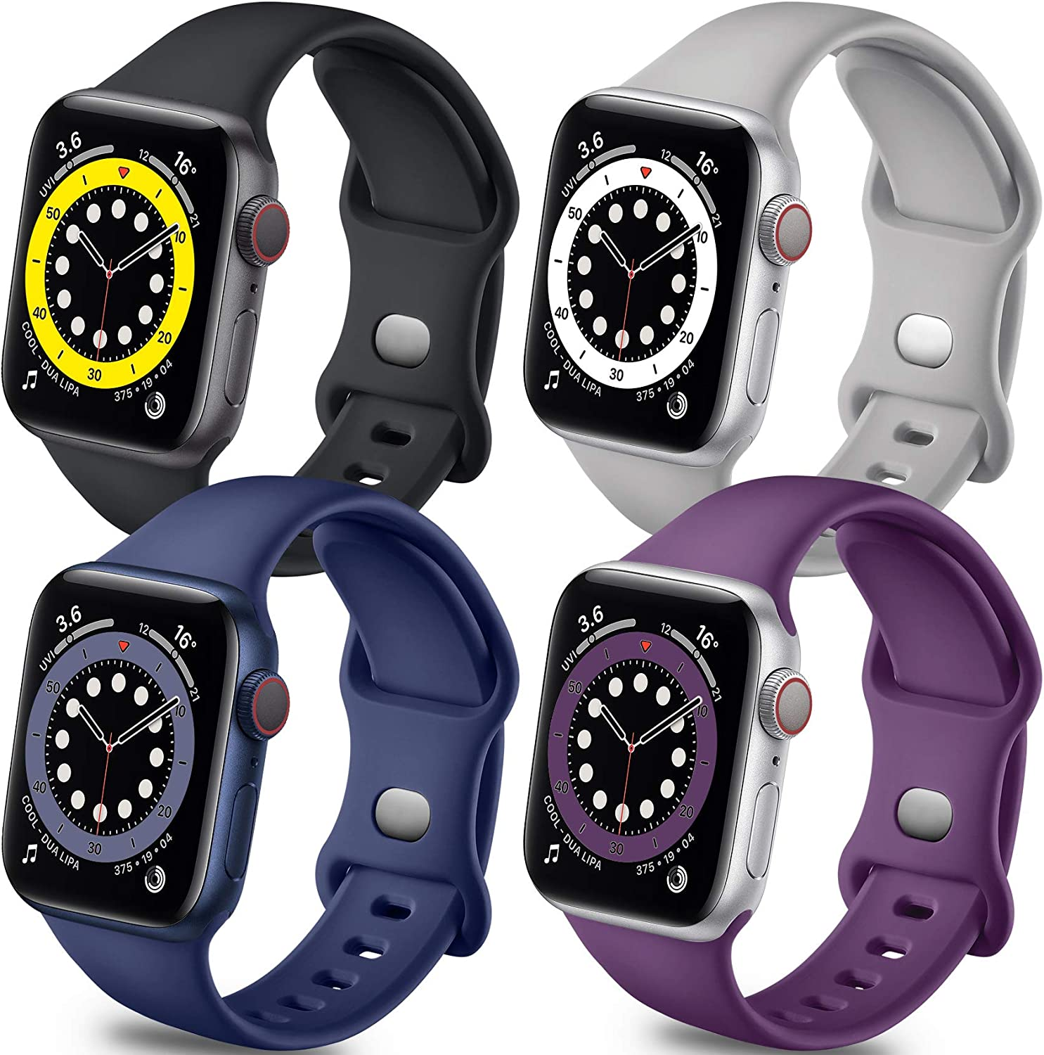 Getino Band Compatible with Apple Watch 42mm 44mm Series 6 5 4 3 2 1 SE Bands for iWatch Women Men Stylish Soft Silicone Wristband, 4 Pack, Purple, Pebble Gray, Black, Midnight Blue, S/M