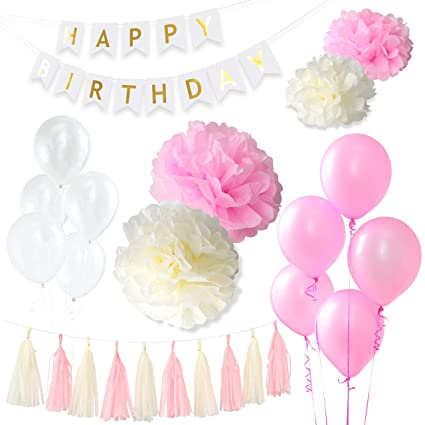 GreenBic Pink White And Gold Birthday Decorations Bundle