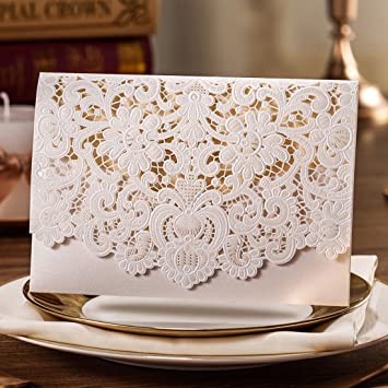 Wishmade Wedding Invitations Cards Kits 50 Sets White Horizontal Embossed Lace Floral Laser Cut Invites For