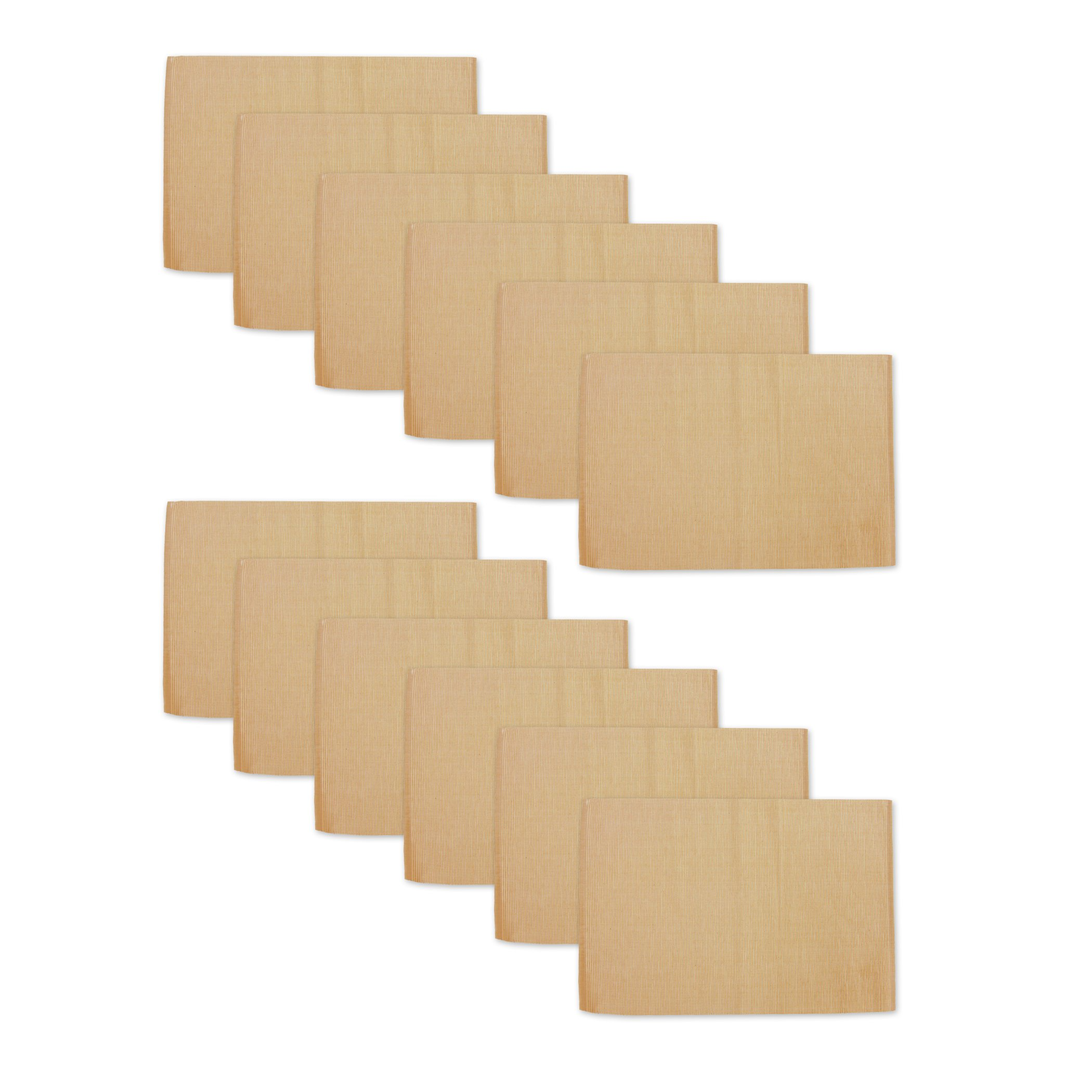 Elrene Home Fashions 026865853223 Solid Cotton Ribbed Casual Rectangle Placemat, Set of 12, 13'' x 19'', Almond