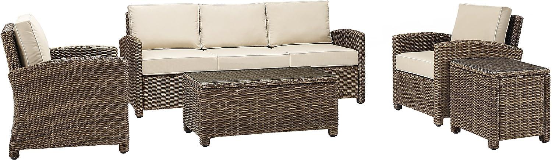 Crosley Furniture KO70051WB-SA Bradenton Outdoor Wicker 5-Piece Set (Sofa, 2 Arm Chairs, Side & Coffee Table), Brown with Sand Cushions