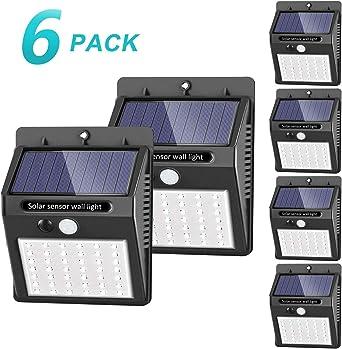 42 LED / 3 Modos ] SEZAC Luces solares Luces con sensor de movimiento solar para exteriores, Luces