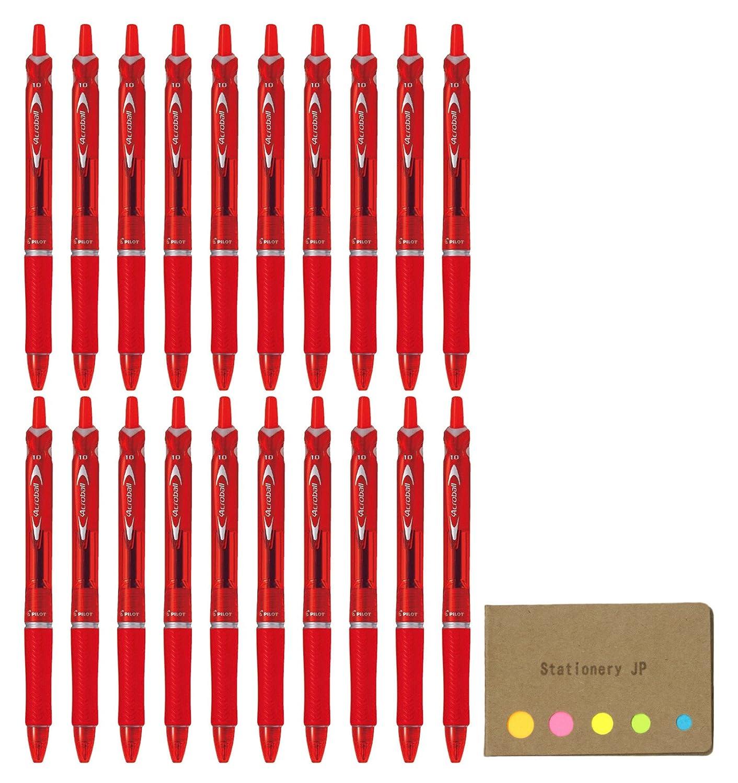 Pilot Acroball Retractable高度なインクBall Pointペン, Medium Point 1.0 MM,レッドインク,ラバーグリップ、20-pack、付箋値設定 B07D54W24R