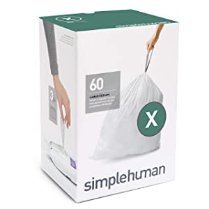 simplehuman Code X Custom Fit Liners, Extra Large, Ultra Strong Trash Bags, 80 Liter / 21 Gallon, 3 Refill Packs (60 Count)