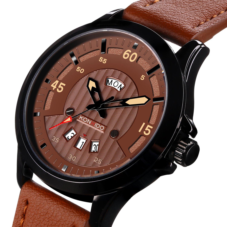Amazon.com: KONXIDO Mens Analog Quartz Watches Waterproof Auto Date Round Dial Fashion Dress Watches for Men: Watches