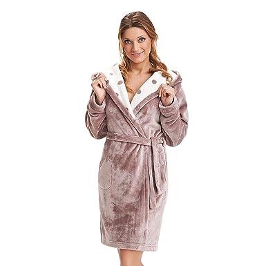 84768522d92b93 DOROTA Bademantel mit Kapuze Damen Saunamantel für Frauen Baumwolle  Morgenmantel Flauschig Kurz Warm Leicht (XL