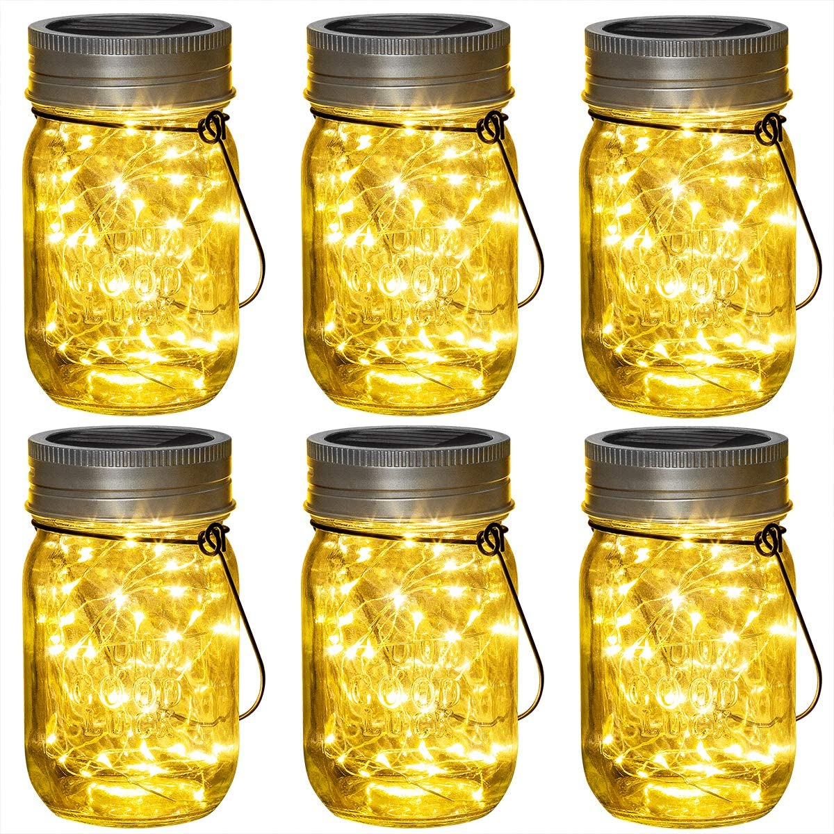 Solpex 30 LEDs Hanging Solar Lights Outdoors, 6 Pack Solar Mason Jar Lid Fairy String Lights for Christmas, Patio, Garden, Yard and Lawn Hangers and Jars Included