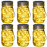 Solpex 30 LEDs Hanging Solar Lights Outdoors, 6 Pack Solar Mason Jar Lid Fairy String Lights for Christmas, Patio…