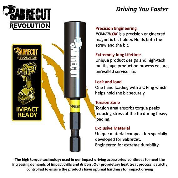 SabreCut SCRK1 - Juego de 4 brocas magnéticas de impacto (60 mm y 152 mm, 2 puntas de impacto PZ2 de 32 mm, para Dewalt, Milwaukee, Makita, Bosch y ...