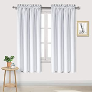 DWCN Blackout Curtains – Thermal Insulated, Energy Saving & Noise Reducing Bedroom and Living Room Curtains, Greyish White, W 42x L 63 Inch, Set of 2 Rod Pocket Curtain Panels