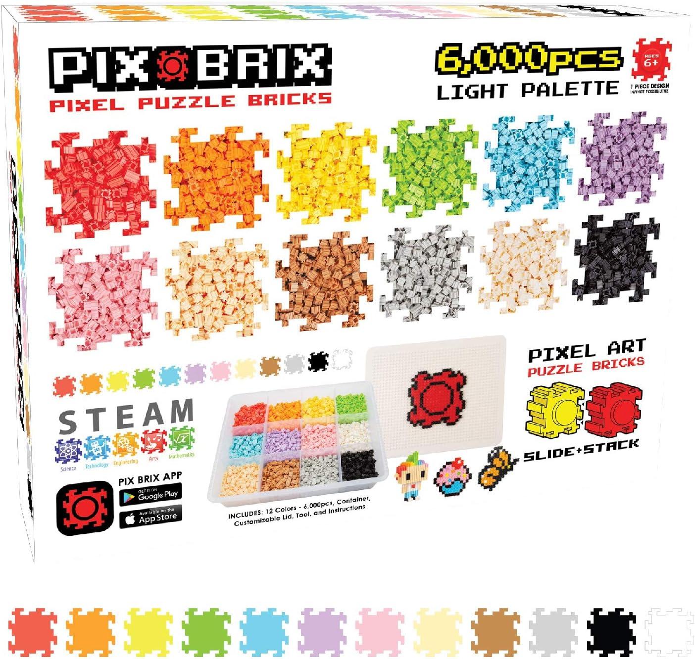 Amazon Com Pix Brix Pixel Art Puzzle Bricks 6 000 Piece Pixel Art Container 12 Color Light Palette Patented Interlocking Building Bricks Create 2d And 3d Builds Without Water Iron Glue