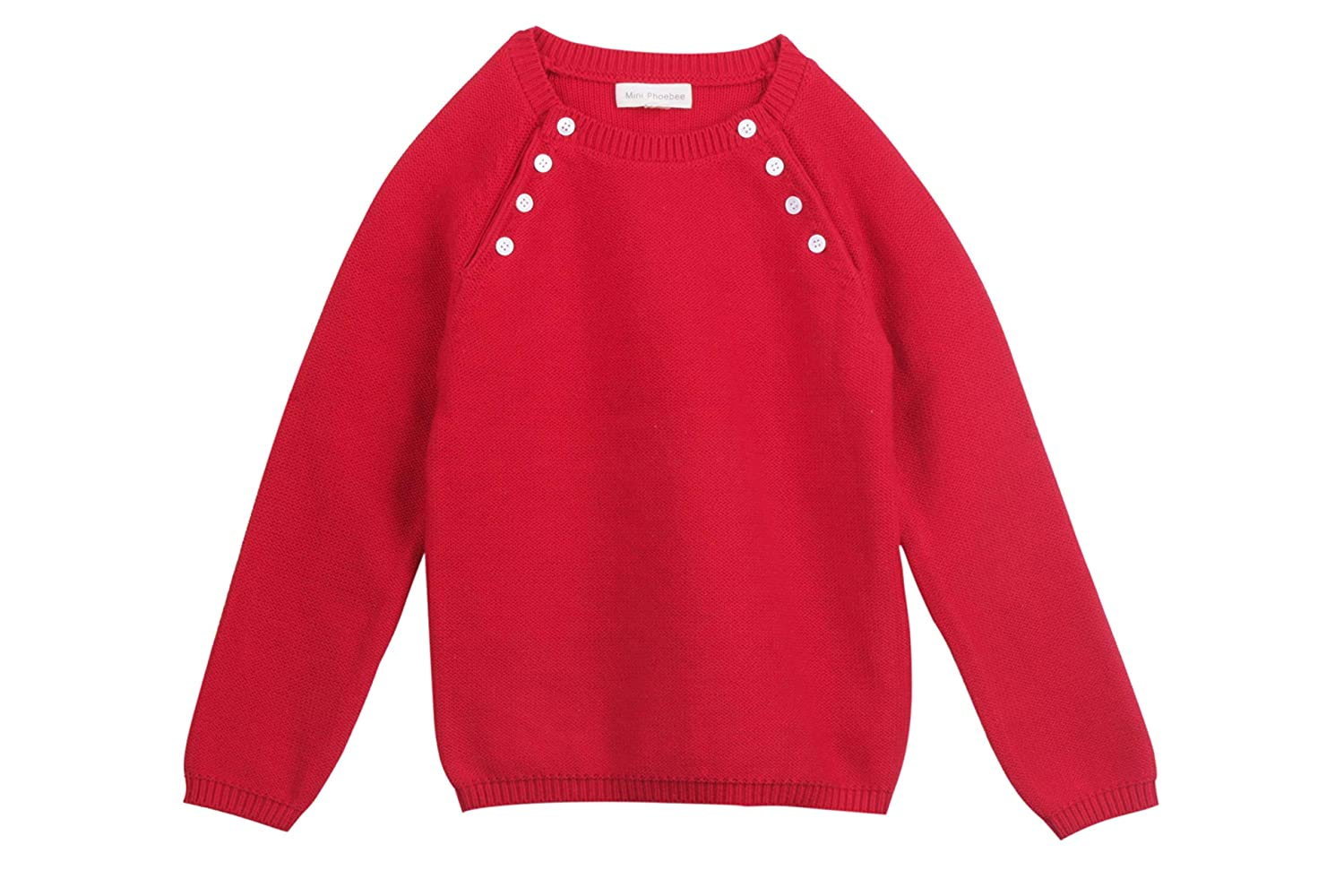 Mini Phoebee Little Girls' Long Sleeve Crew Neck Pullover Sweater