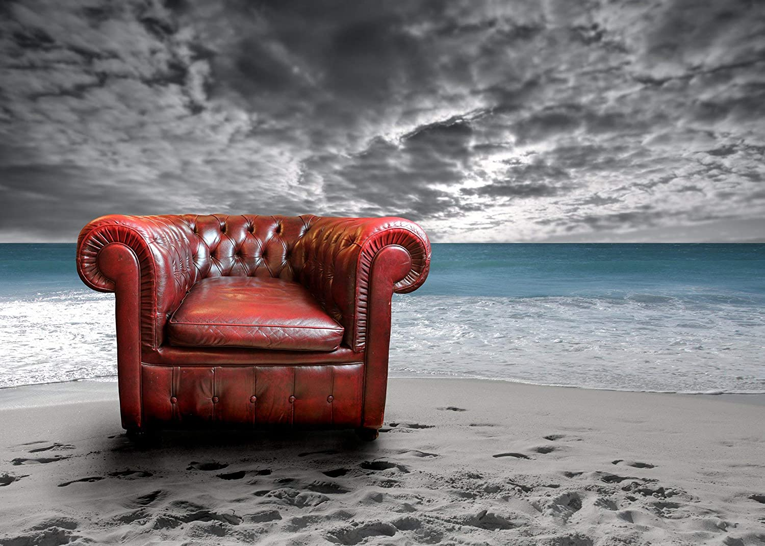 GoHeBe 10 x 7 ft Polyester Seaside Beach Photography Backdrops Photo Studio Props Red Sofa Background Room Mural 107-89